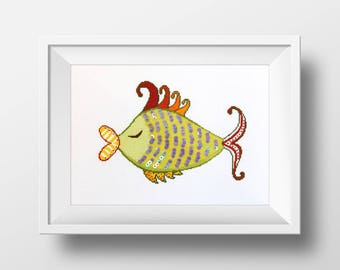 Decorative Funny Fish - cross stitch pattern, needlepoint, pillow cover,embroidery, handbag, cross stitch, pdf instant download