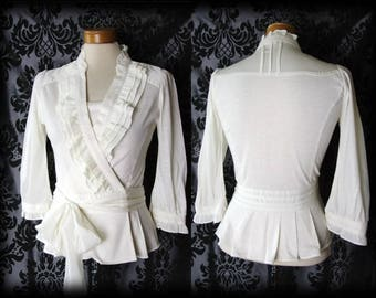 Gothic Cream Frilled GOVERNESS High Neck Sash Tie Blouse 8 10 Victorian Vintage
