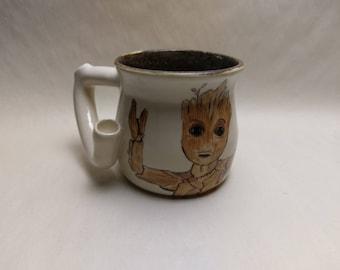 """WAKE and BAKE Pipe MUG - Guardians 2 Inspired """"Baby Groot"""" - Handmade Ceramic #824"""