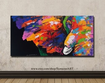 48 x 98 cm, Colorful elephant, wall decor painting