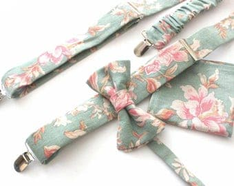 Suspender Set in mint-pink-floral,coutrystyle