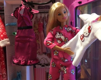 Barbie Doll Size Flannel Pajamas / PJs Outfit - Winter Pajama - Hello Kitty