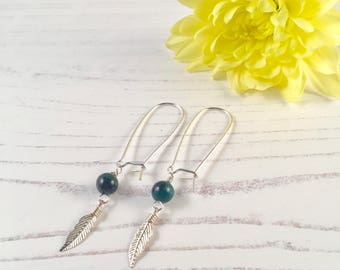 Sterling Silver Feather and Chrysocolla Earrings
