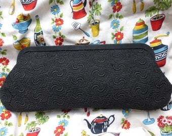 Vintage stylish 1950s black lace clutch bag
