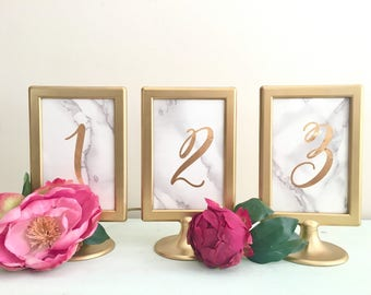 Marble Table numbers / gold and marble table numbers / pedestal table numbers / gold and marble wedding / gold wedding / wedding signage