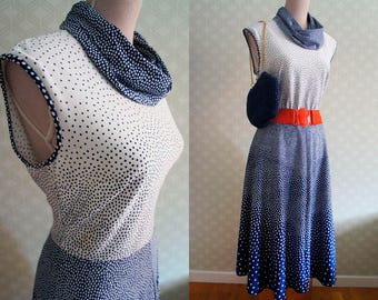 70s Polka Dot Vintage dress. Large Size Cowl sleeveless dress. Navy and white Polka dot dress.