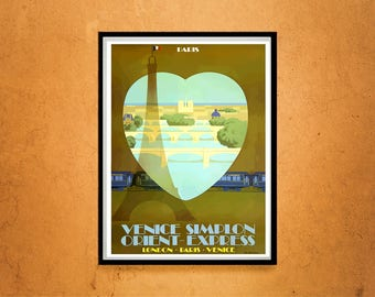 Reprint of a Vintage French Orient Express to Paris Poster