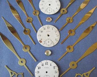 Lot 8 Steampunk Art Goodies - 3 Antique Porcelain Pocket Watch Dials, 16 Assorted Vintage Brass Plated Clock Hands for your Steampunk Art