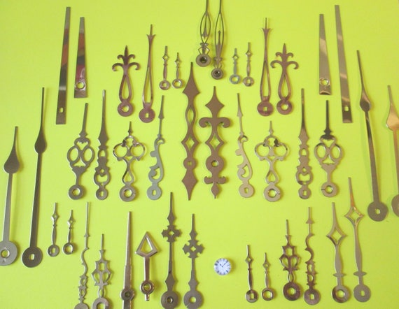 21 Pairs of Vintage and New Brass Clock Hands for your Clock Projects - Jewelry Making - Steampunk Art and Etc....