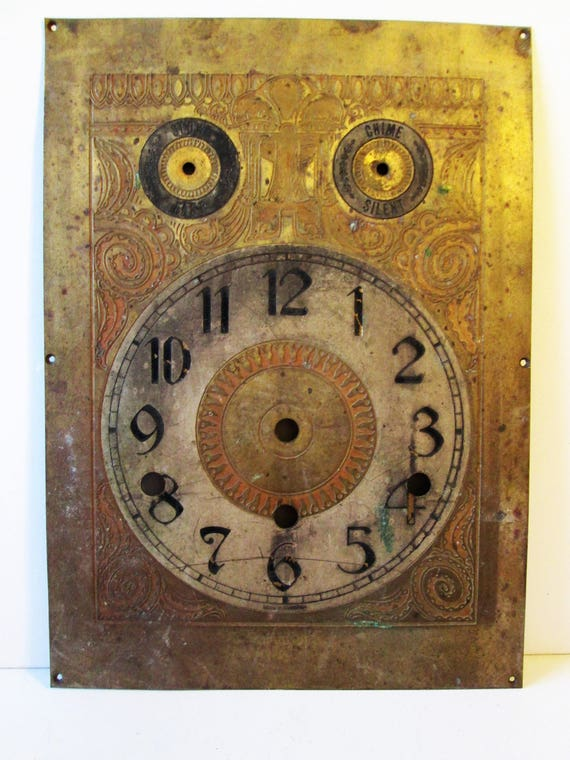 "Large Antique 10 1/2"" x 7 5/8"" German Made Fancy Solid Etched Brass Clock Dial for your Tall Case Clock Projects - Metalworking - Steampunk"