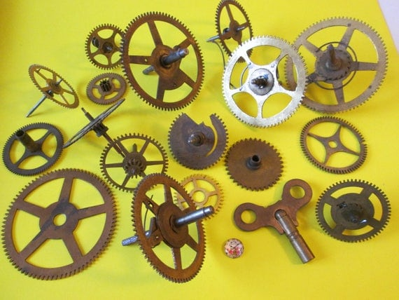 17 Super Large Antique Solid Brass Clock Gears and Size 12 Key for your Clock Projects - Steampunk Art -