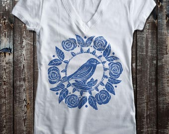 Bird and Rose graphic print Women's Fitted V-Neck T-Shirt