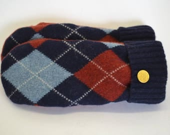 Wool Felted Sweater Mittens / ARGYLE SWEATER MITTENS / Wool Mittens / Lined With Fleece / Handmade