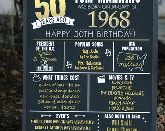 PRINTED 50th birthday poster, Back in 1968, What Happened in 1968, 50th Birthday Decorations, Black and Gold, 50th Party Decor, Vintage 1968