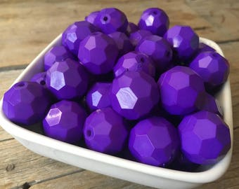 20mm Purple Hexagon Chunky Bead, Hex Bubblegum Bead, Faceted Acrylic Bead, DIY Chunky Necklace, 10 Count