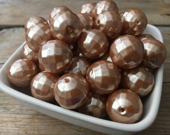 20mm Champagne Pearl Earth Chunky Bead, Light Brown Bubblegum Bead, Disco Acrylic Bead, DIY Chunky Necklace, 10 Count