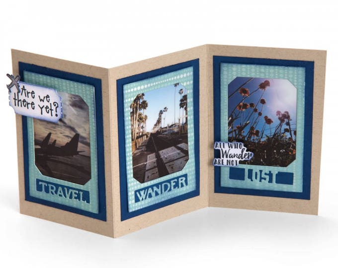 New! Sizzix Framelits Die Set 13PK w/Stamps - Photo Frame, Travel by Lynda Kanase 662179