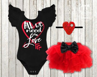 Girlu0027s Valentines Day Outfit Baby Girl Valentines Shirt All We Need Is Love  Newborn Valentines Outfit