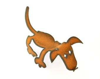Dog Origami Folded Rusted Metal Figurine