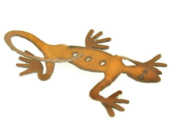 Lizard Origami Folded Rusted Metal Figurine