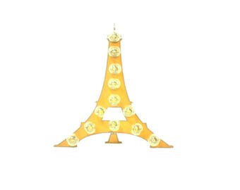 Eiffel Tower Marquee Rusted Metal Vintage Inspired Lighted Sign
