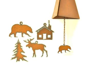 Rusty Wind Chime With Lodge Themed Charm Assortment