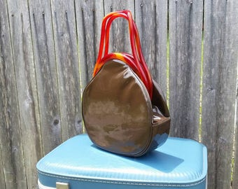 Rare Bobbie Jerome Brown Patent Leather with Tortoise Shell Lucite Handles Handbag 1960s