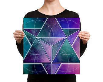 Canvas - Space Geometry Purple Triangles 1 Canvas Art