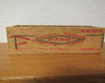 Wisconsin Cheese Box, 1  1/2  lb. wood cheese box , self Cured Blend, Cheddar Cheese, wood storage box * mid century