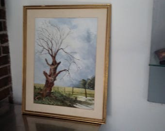 Large Original Vintage Watercolour of a Dead Tree Barbed Wire Fence Landscape