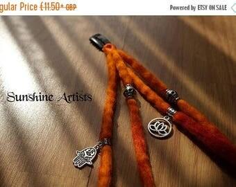 Orange wool dreads-clip in dreadlocks-merino wool dreads-Mehendi hand-Lotus flower-Tibetan silver-charms and beads-boho-festival-dread falls