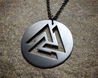 Valknut Heathen Necklace -  Odin Viking Pagan Rune