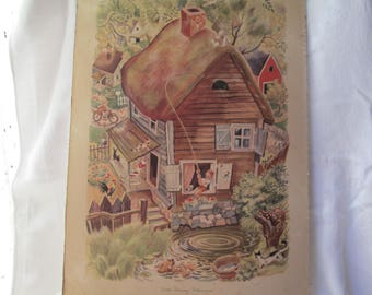 Vintage Little Tommy Tittlemouse Lithograph by Feodor Rojankovsky, 1945 Simon and Schuster