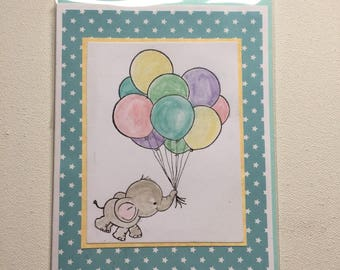 Baby card, greeting card, handmade, hand painted, baby elephant, balloons, teal, yellow, blank, for baby, congratulate, One of a Kind card