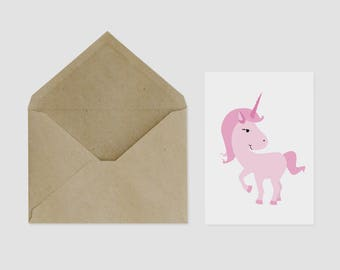Pink Unicorn Greeting Card A6