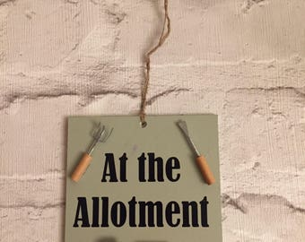 Handmade 'At the allotment' plaque
