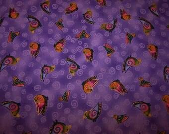 Laurel Burch Embracing Horses Purple Metallic 1 Yard