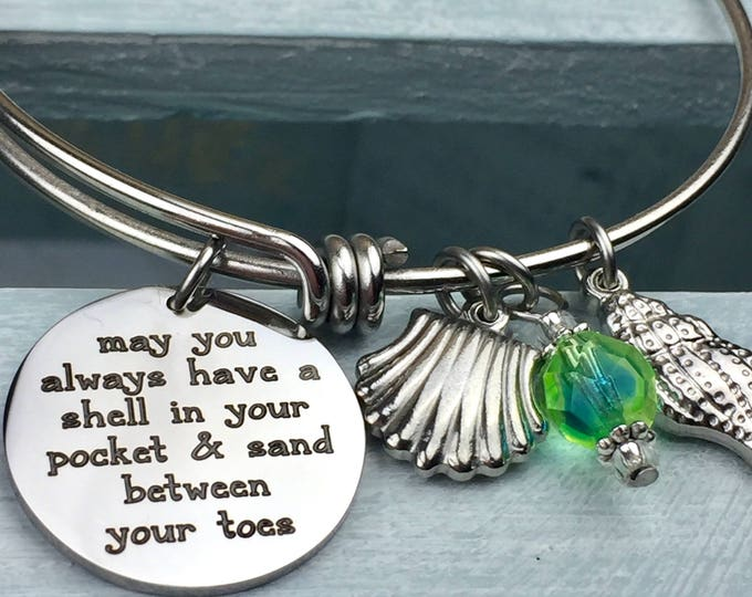 Shell in Your Pocket Adjustable Bangle Charm Bracelet, sand between your toes, toes in the sand, beach jewelry, summertime, charms