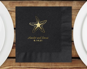 Personalized Luncheon Napkins Wedding, Starfish, Black Luncheon Napkins, Black Napkins, Imprint And Napkin Color Options Available