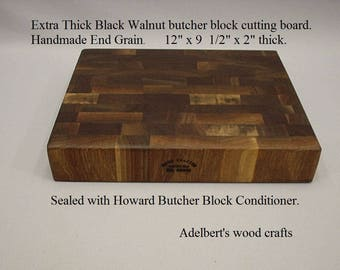 "Extra thick Black Walnut end grain cutting board the right size at the right price. 12""x 9 3/4"" x 2""  thick. Shipped priority mail."