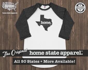 Home State Apparel Charcoal on White Baseball Raglan Shirt