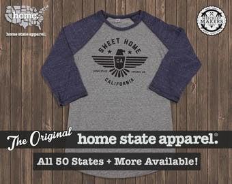 Sweet Home Raglan: Navy on Grey Baseball Raglan Shirt