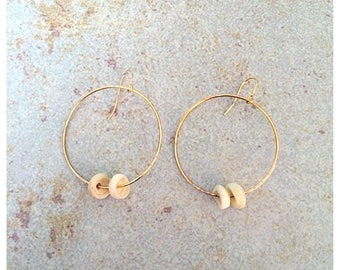 40mm round double puka earrings gold fill