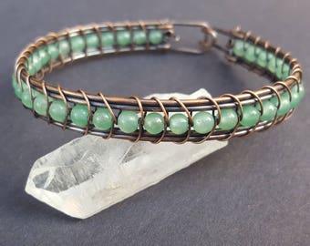 Crystal Bracelet Healing, Healing Crystal Bracelet, Copper Bracelet, Copper Jewelry, Handmade Wire Wrapped Jewelry, Wire Weaved Bracelets