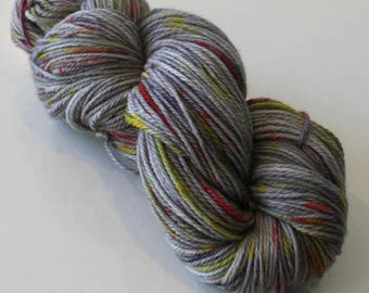 Hand Dyed Yarn - 8ply DK Superwash Merino - Grey with Pink and Yellow