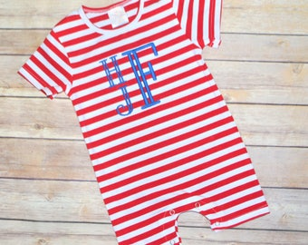 Baby boy summer outfit, boy summer romper, toddler boy summer shirt, red and blue outfit, fourth of july outfit, baby boy monogrammed romper