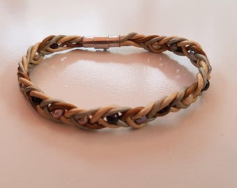 Leather Fishtail Bracelet with Fresh Water Pearls|Metallic Leather Bracelet|Firefly NC