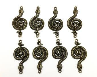 8 snake connectors bronze tone metal,24mm x 50mm  #CON 275