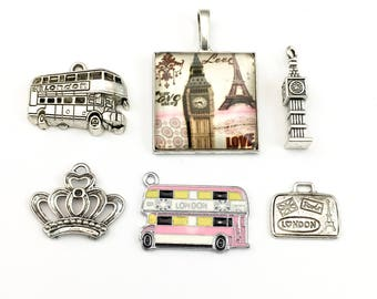6 London/ Paris charms collection antique silver, 14mm to 38mm # ENS A 371