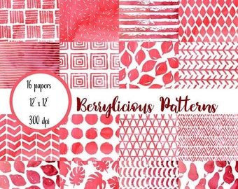 ON SALE Watercolor Scrapbook Paper, Red and White, Watercolor Digital Paper, Watercolor Patterns Paper, Digital Paper Pack
